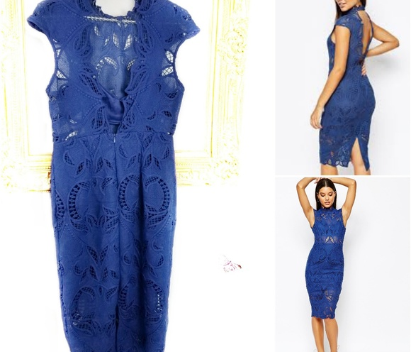 Asos Love Triangle Blue Lace Midi Dress Open Back